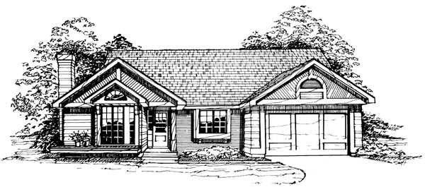 One-Story, Ranch House Plan 99324 with 3 Beds, 2 Baths, 2 Car Garage Elevation