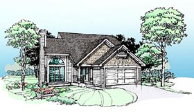 House Plan 99327 | Bungalow Style House Plan with 1289 Sq Ft, 3 Bed, 2 Bath, 2 Car Garage Elevation