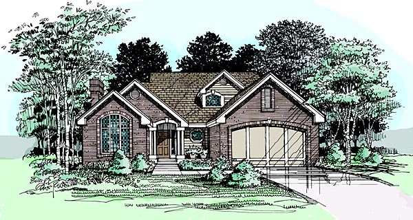 Traditional House Plan 99358 with 3 Beds, 3 Baths, 2 Car Garage Elevation