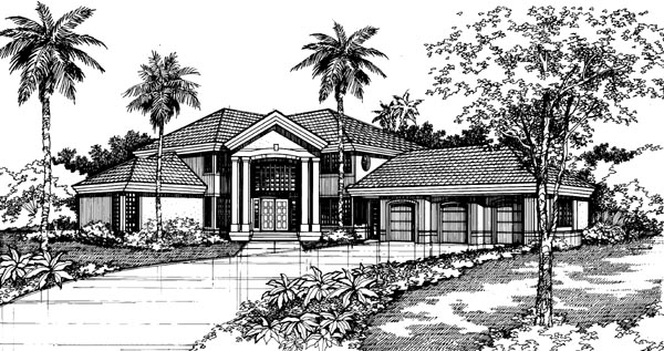 Colonial Mediterranean House Plan 99373 Elevation