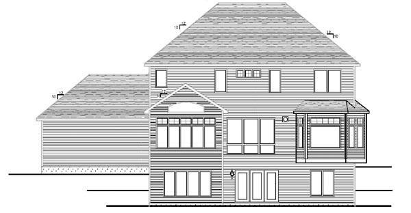 Cottage, Craftsman, Traditional House Plan 99376 with 4 Beds, 3 Baths, 3 Car Garage Rear Elevation