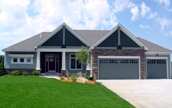 Cottage, Craftsman, Traditional House Plan 99382 with 3 Beds, 3 Baths, 3 Car Garage Elevation