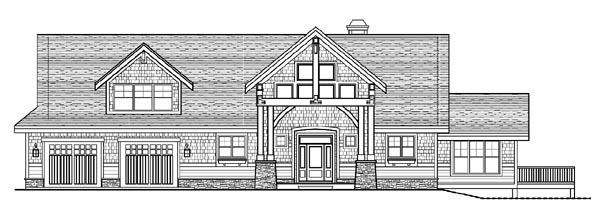 Cottage Craftsman House Plan 99391 Rear Elevation