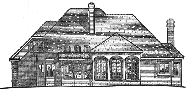 European House Plan 99400 Rear Elevation