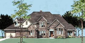House Plan 99402 | European Style Plan with 3904 Sq Ft, 4 Bedrooms, 4 Bathrooms, 3 Car Garage Elevation