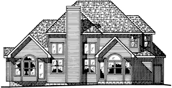 House Plan 99407 | European Style Plan with 2496 Sq Ft, 4 Bedrooms, 3 Bathrooms, 3 Car Garage Rear Elevation