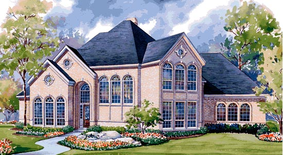 House Plan 99409 | European Victorian Style Plan with 3681 Sq Ft, 4 Bedrooms, 4 Bathrooms, 3 Car Garage Elevation