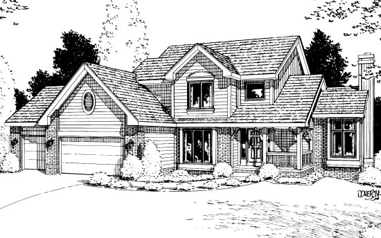 Country Farmhouse Elevation of Plan 99412