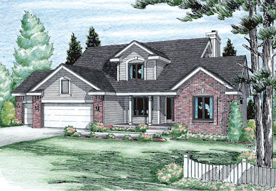 Bungalow, Country House Plan 99416 with 4 Beds, 3 Baths, 3 Car Garage Elevation