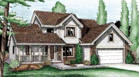 House Plan 99418 | Country Style Plan with 1865 Sq Ft, 4 Bedrooms, 3 Bathrooms, 2 Car Garage Elevation