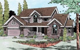 House Plan 99423 | Country European Style Plan with 2570 Sq Ft, 4 Bedrooms, 3 Bathrooms, 2 Car Garage Elevation