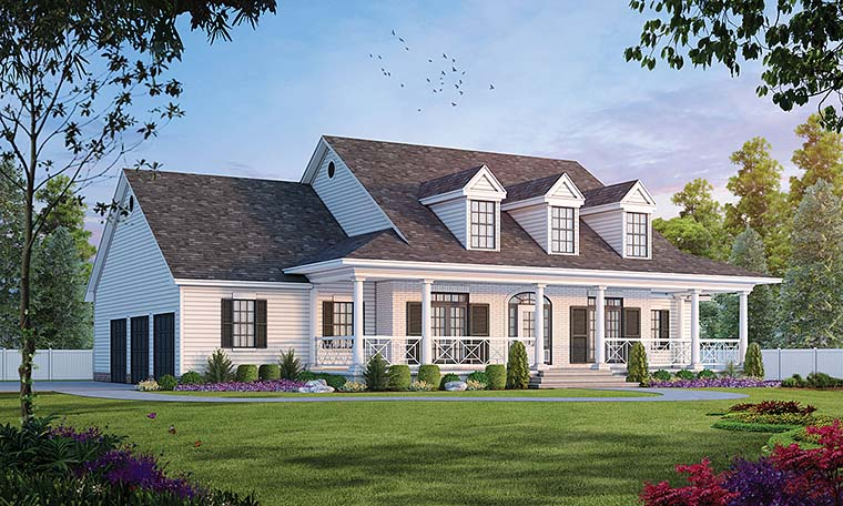 Cape Cod, Country House Plan 99425 with 4 Beds, 4 Baths, 3 Car Garage Elevation