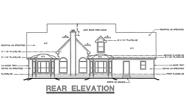 Cape Cod, Country House Plan 99425 with 4 Beds, 4 Baths, 3 Car Garage Rear Elevation