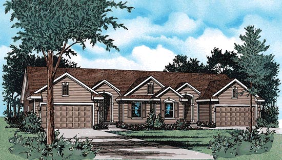 Traditional Multi-Family Plan 99428 with 4 Beds, 4 Baths, 4 Car Garage Elevation