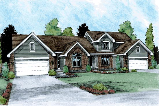 Traditional Multi-Family Plan 99429 Elevation