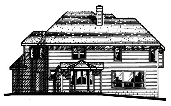 House Plan 99435 | European Style Plan with 2727 Sq Ft, 4 Bedrooms, 3 Bathrooms, 3 Car Garage Rear Elevation
