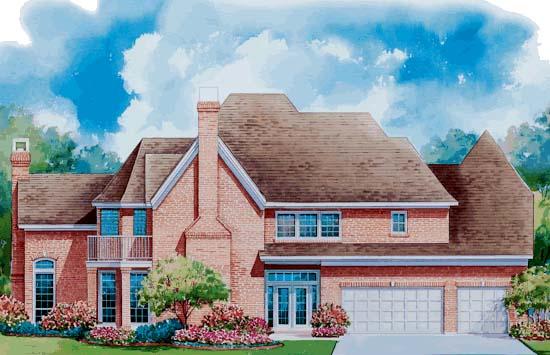 European House Plan 99442 Rear Elevation