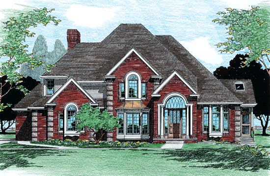 European House Plan 99443 with 4 Beds, 4 Baths, 3 Car Garage Elevation