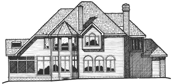 European House Plan 99443 with 4 Beds, 4 Baths, 3 Car Garage Rear Elevation