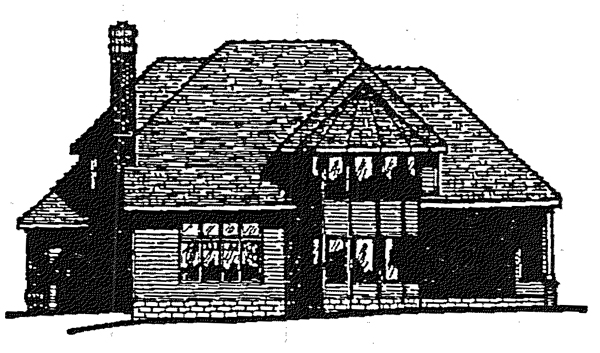European Tudor House Plan 99456 Rear Elevation