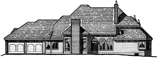 European Tudor Victorian House Plan 99462 Rear Elevation