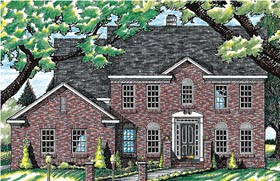 Colonial House Plan 99471 with 4 Beds, 3 Baths, 2 Car Garage Elevation