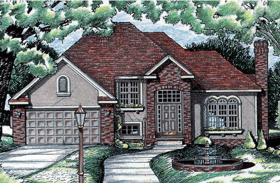 European House Plan 99488 with 3 Beds, 3 Baths, 2 Car Garage Front Elevation