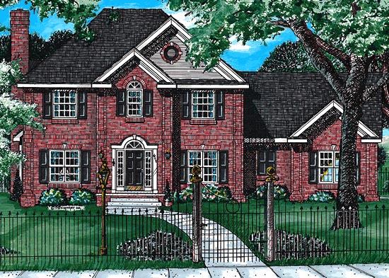 Colonial, Tudor House Plan 99494 with 4 Beds, 4 Baths, 3 Car Garage Elevation
