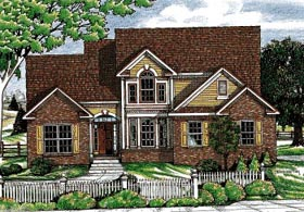 House Plan 99498 | Country Farmhouse Style Plan with 1762 Sq Ft, 3 Bedrooms, 3 Bathrooms, 2 Car Garage Elevation