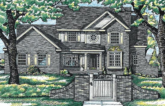 House Plan 99499 | Tudor Style House Plan with 2613 Sq Ft, 4 Bed, 3 Bath, 3 Car Garage Elevation