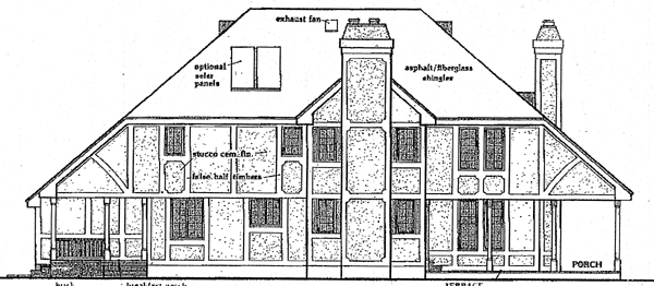 European Tudor House Plan 99605 Rear Elevation