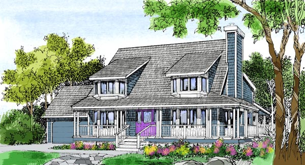 Contemporary Country Farmhouse House Plan 99620 Elevation