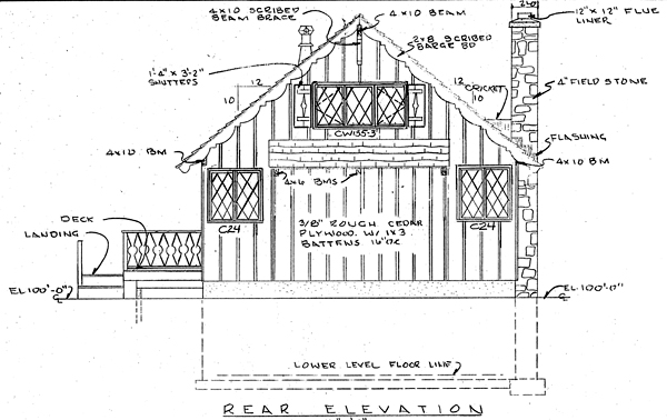 A-Frame Cabin House Plan 9964 Rear Elevation