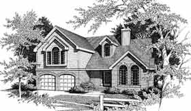 Bungalow, European House Plan 99644 with 4 Beds, 3 Baths, 2 Car Garage Elevation
