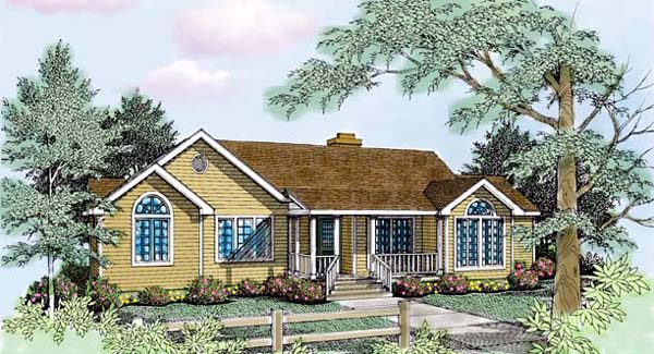 Country Farmhouse One-Story Traditional Elevation of Plan 99647