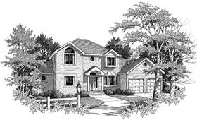 Colonial , European House Plan 99658 with 4 Beds, 4 Baths, 2 Car Garage Elevation