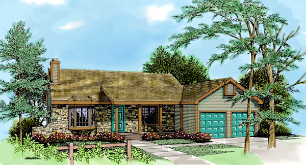 House Plan 99662 | Contemporary Country Style Plan with 1466 Sq Ft, 3 Bedrooms, 2 Bathrooms, 2 Car Garage Elevation