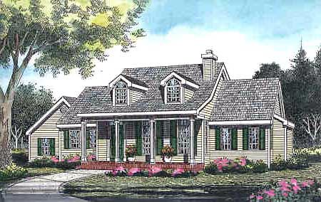 House Plan 99672 | Cape Cod Country Traditional Style Plan with 1664 Sq Ft, 3 Bedrooms, 2 Bathrooms, 2 Car Garage Elevation