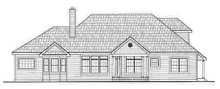 Cape Cod , European House Plan 99678 with 3 Beds, 3 Baths, 2 Car Garage Rear Elevation