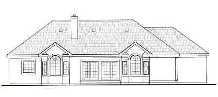 European House Plan 99682 Rear Elevation