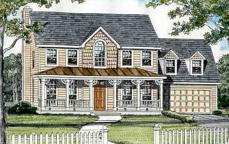 Country, Farmhouse, Southern, Traditional House Plan 99696 with 4 Beds, 3 Baths, 2 Car Garage Elevation