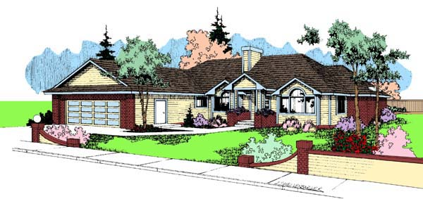European Ranch House Plan 99712 Elevation