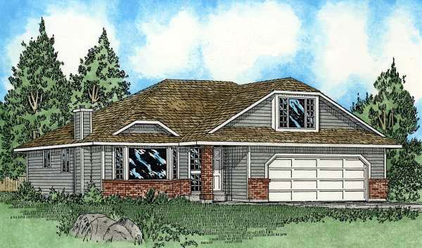 Bungalow, European, One-Story House Plan 99900 with 3 Beds, 2 Baths, 2 Car Garage Elevation