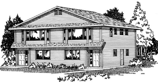 Traditional Multi-Family Plan 99901 Elevation