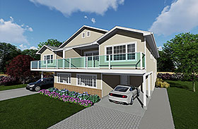 Traditional Multi-Family Plan 99902 Elevation
