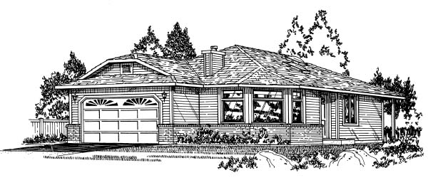 Ranch House Plan 99907 Elevation