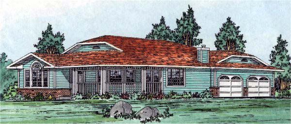 One-Story, Ranch House Plan 99909 with 3 Beds, 2 Baths, 2 Car Garage Elevation