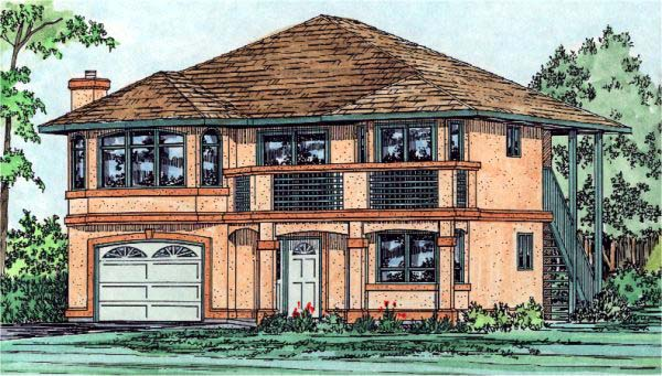 House Plan 99913 | Southwest Style Plan with 2244 Sq Ft, 3 Bedrooms, 2 Bathrooms, 1 Car Garage Elevation