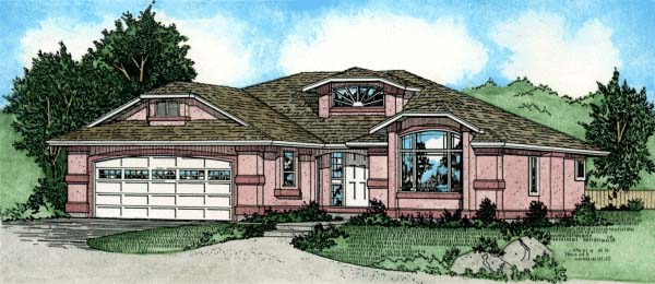 House Plan 99917 | Southwest Style Plan with 1788 Sq Ft, 3 Bedrooms, 2 Bathrooms, 2 Car Garage Elevation