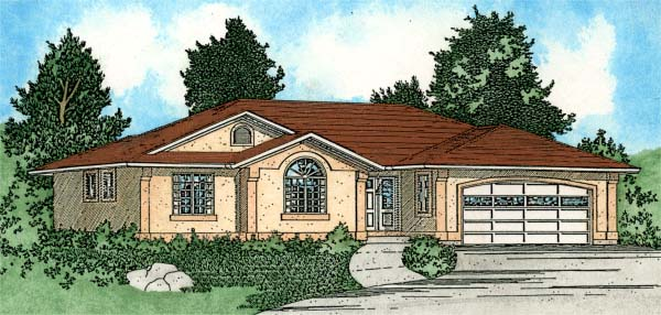 European Southwest House Plan 99924 Elevation
